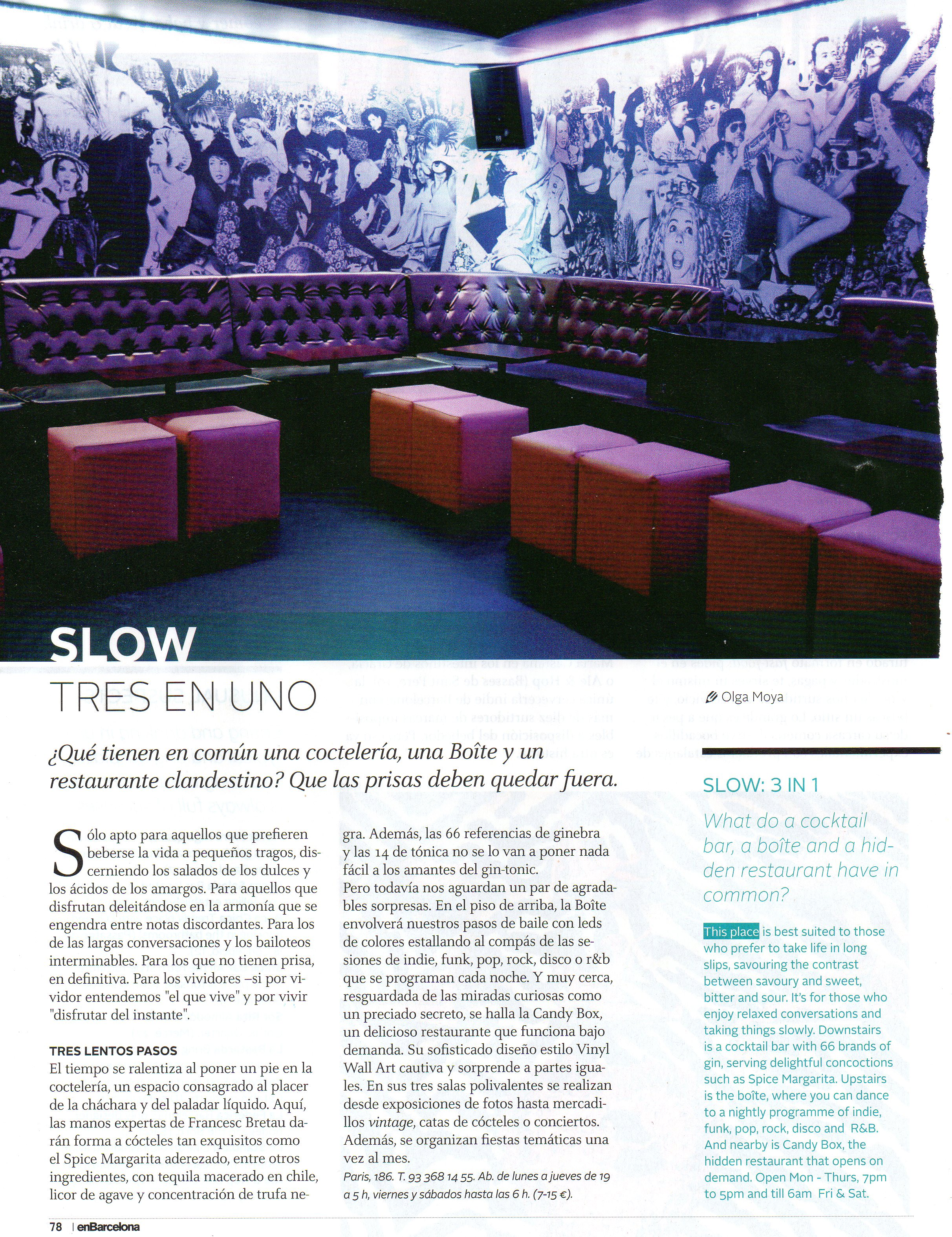 """""""Slow Tres En Uno"""" EnBarcelona – Guía del Ocio"""
